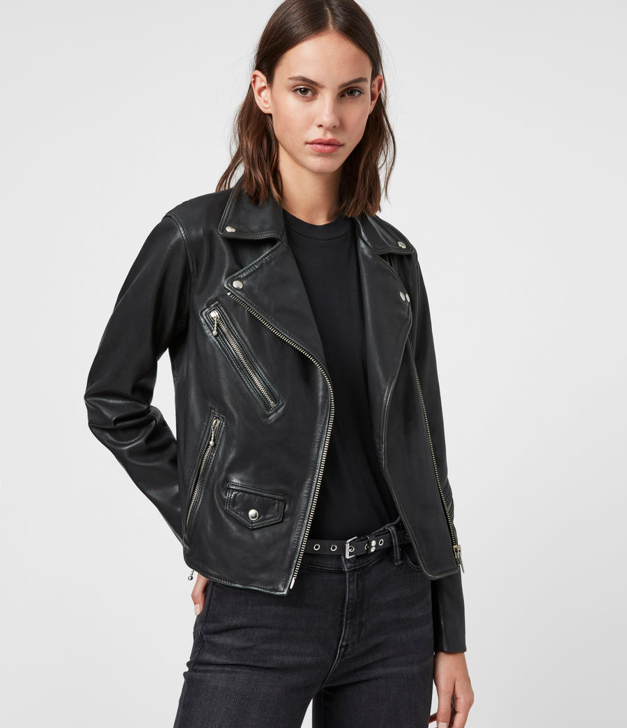 ALLSAINTS UK Womens Riley Leather Biker Jacket (black