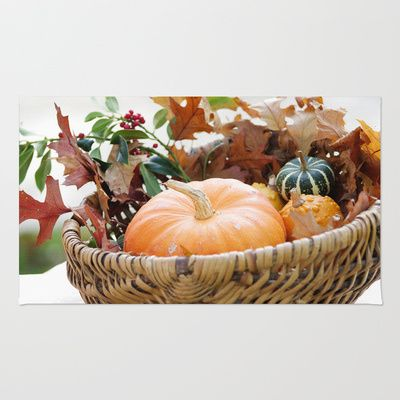 Fresh pumpkin in basket Area & Throw Rug by Tanja Riedel - $28.00