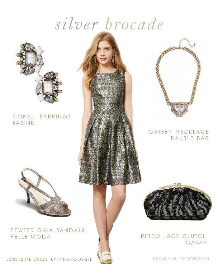 silver brocade cocktail dress