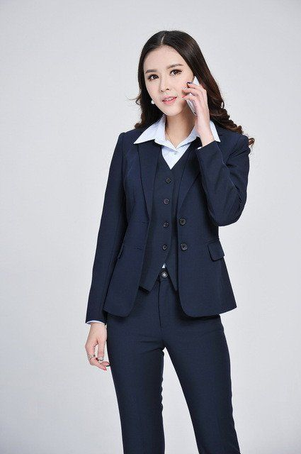 067410bd869 Womens 3 Piece Pantsuit - Pant + Blazer + Vest - Navy   Black ...