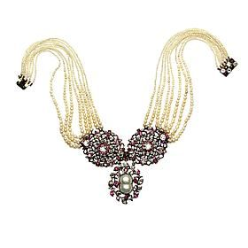 18th century ruby, diamond and pearl openwork cluster panels on a graduated pearl necklace c.1770