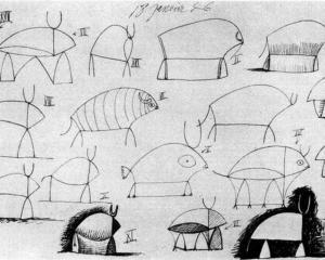 pablo picasso___bull study 1946