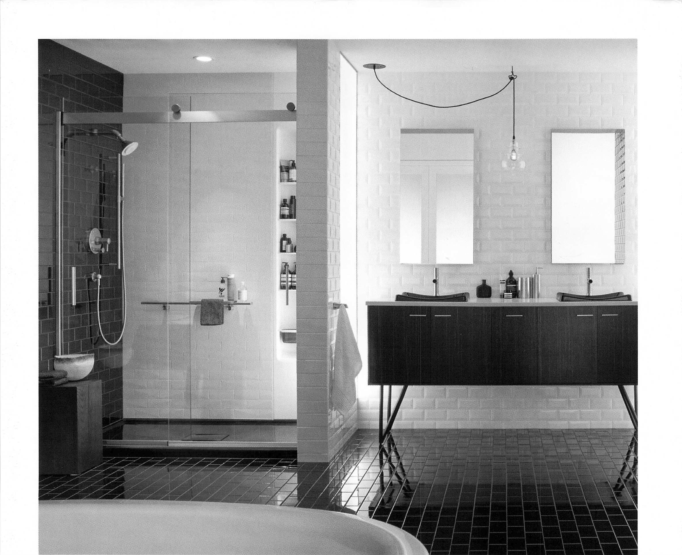Great space saving and elegant shower door Round mirror