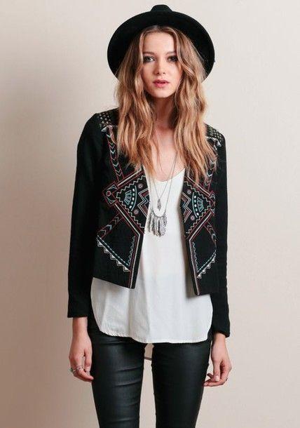 jacket boho jacket black jacket embroidered jacket top white top necklace  boho boho chic hat felt hat black hat pants leather pants black pants f7ab1394759a