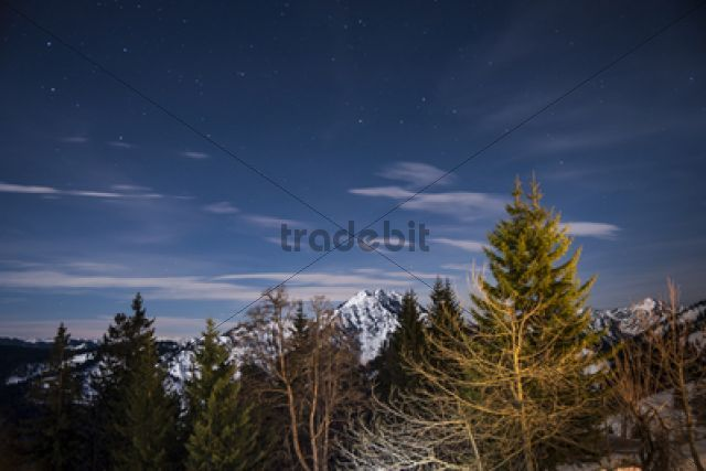 Panoramic view with stars from Mt Bruennstein Bavarian Alps / Brünnstein Oberaudorf Bavaria Germany Europe