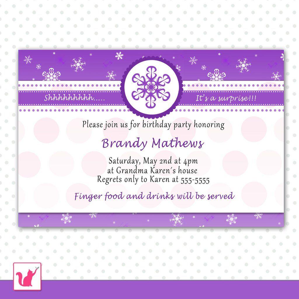 Adult Birthday Invitation Purple Winter Wonderland | things I love ...
