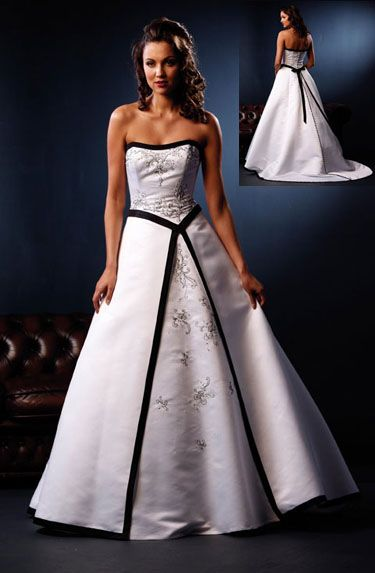 wedding dresses black and white