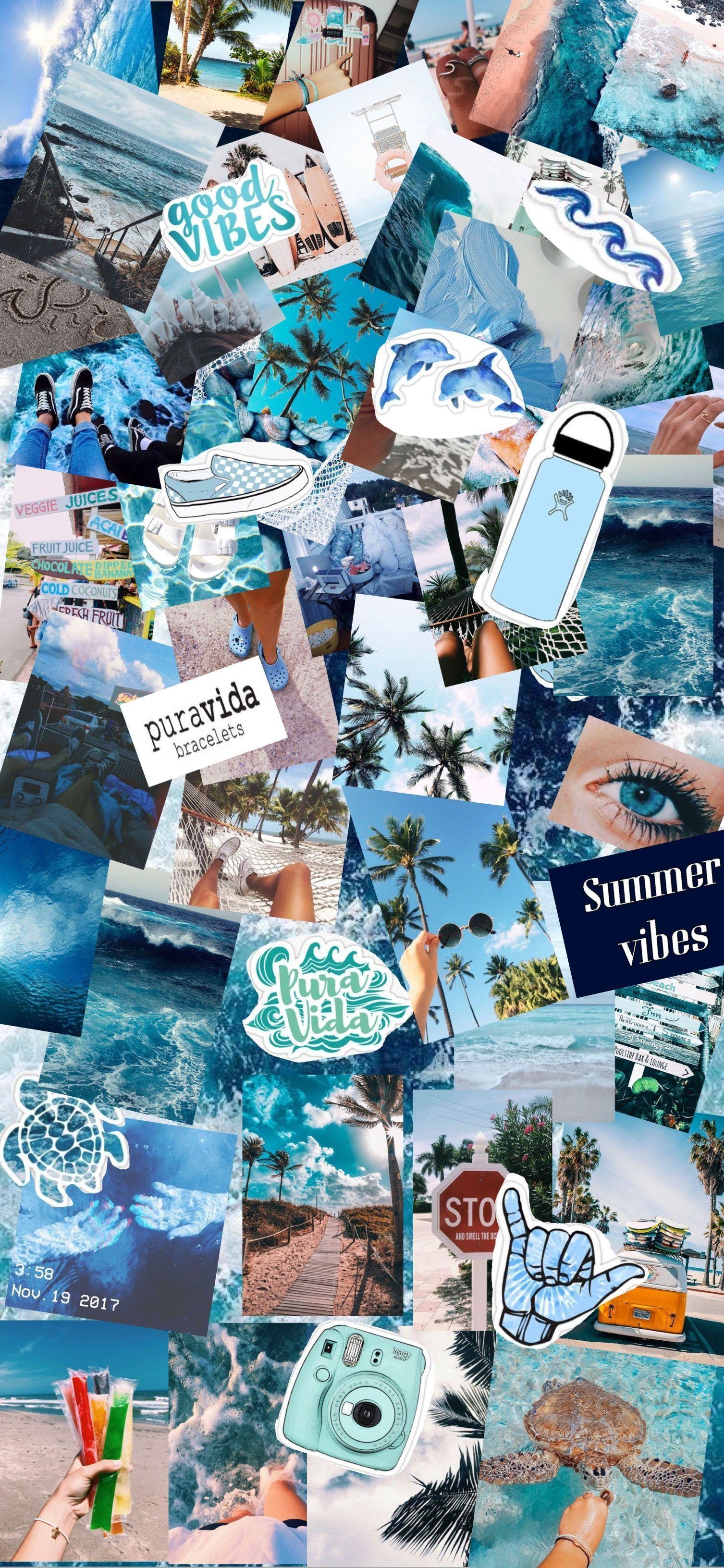 Iphone Ästhetische Pastellhomescreen Collage Wallpaper