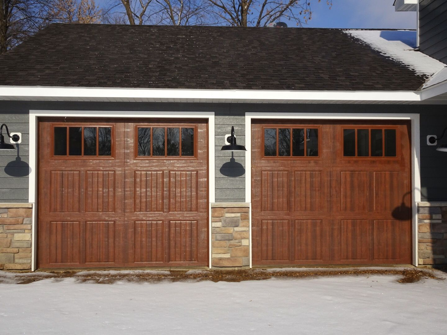 Amarr Classica Garage Door In Walnut With Cortona Panels And