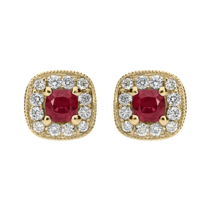 6599880834d2 18ct Yellow Gold 0.33ct Ruby and Diamond Cushion Stud Earrings   cwsellorspreciousgemstones  earrings  studs  jewellery  vintage   yellowgold  gold  ruby  red ...