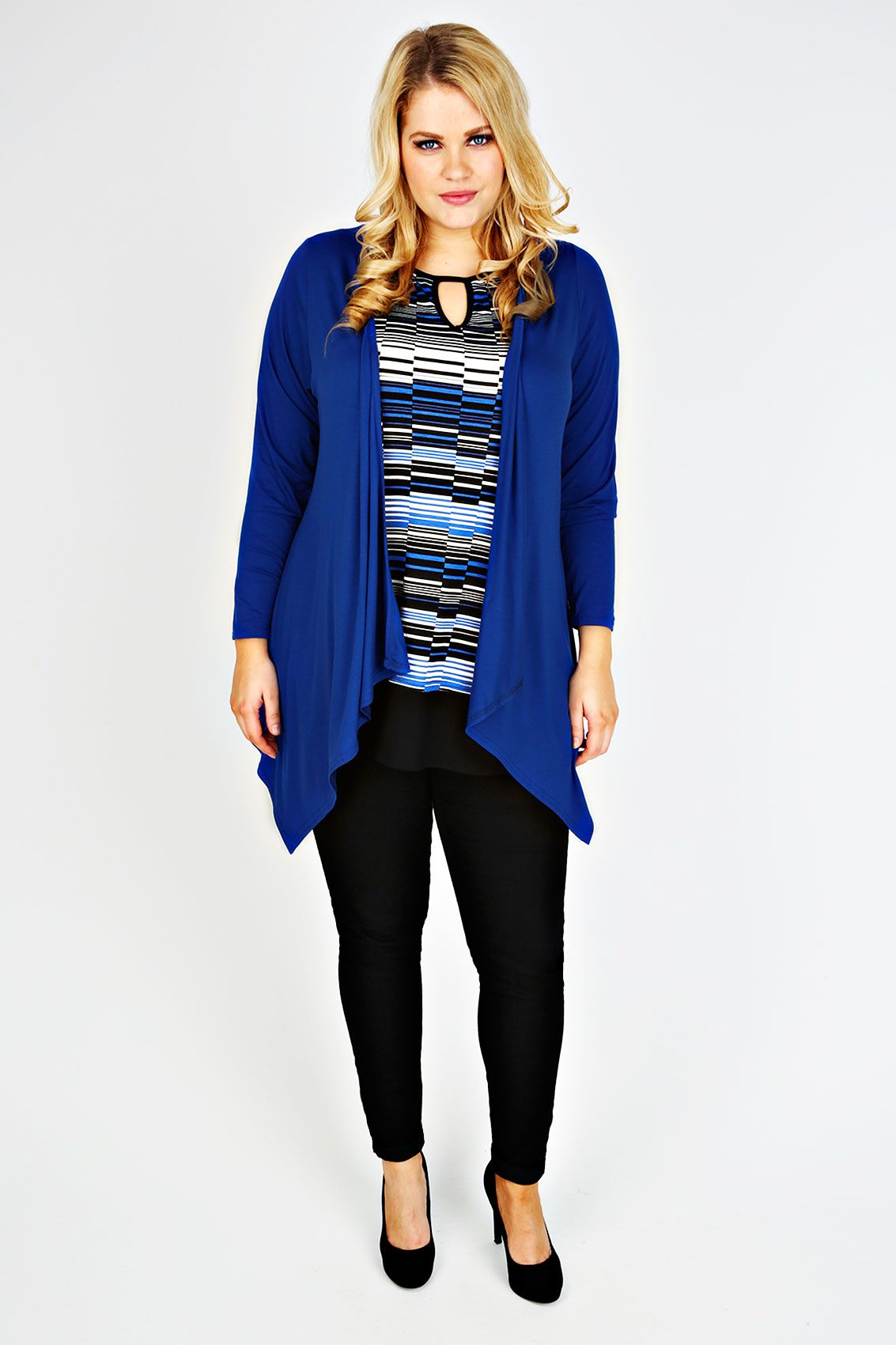 Cobalt Blue Waterfall Edge to Edge Jersey Cardigan | Cobalt blue ...