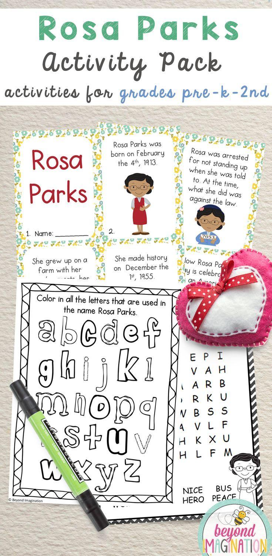 Rosa Parks Activity Pack   Black History Month Printable Worksheets ...