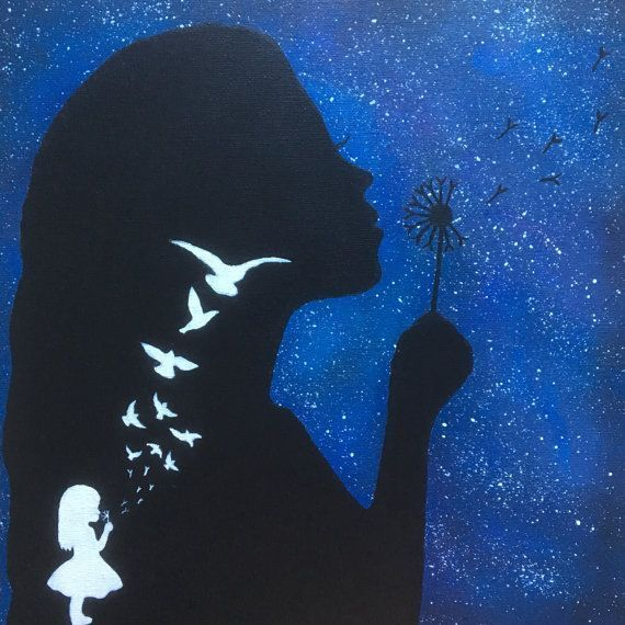 Silhouette Girl Blowing Dandelions Painting Galaxy Handmade Acrylic on Canvas - paintingfuls#acrylic #blowing #canvas #dandelions #galaxy #girl #handmade #painting #paintingfuls #silhouette