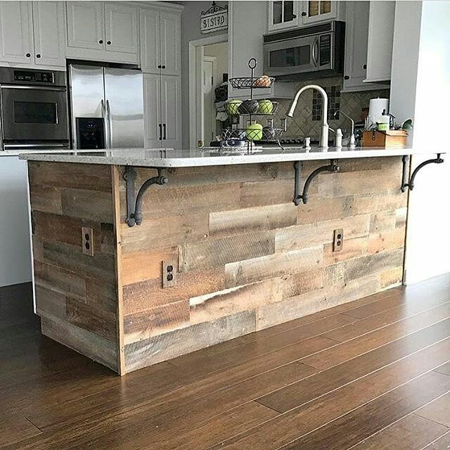 Kitchen Island Reclaimed Wood From Pallets Cabinets