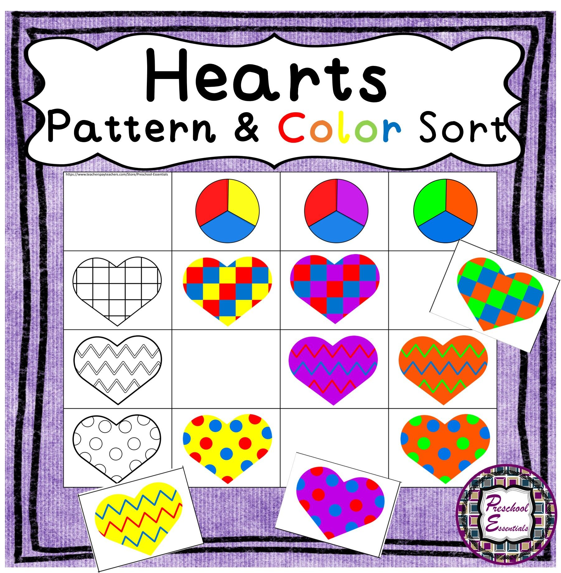 Valentine S Hearts Pattern And Color Sort In