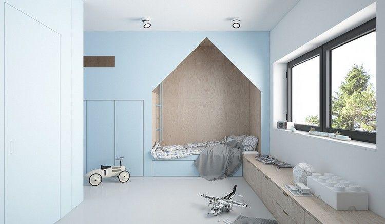 Kinderzimmer Gestalten Blau Eingebauter Schrank Bett Spielecke
