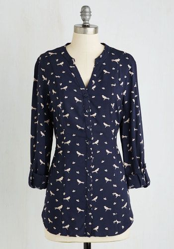 Trusty Travel Top in Birds. When the opportunity for a spontaneous sojourn arises, you instinctively pack this tab-sleeved top for a guaranteed gorgeous look when you reach your destination! #blue #modcloth