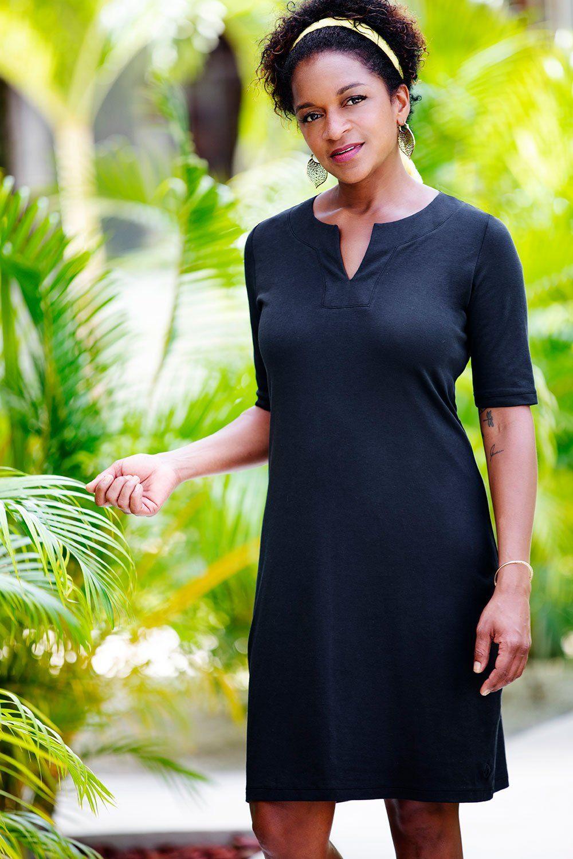 23581268be6 Womens Fair Trade Organic Split Neck Dress - Fair Indigo