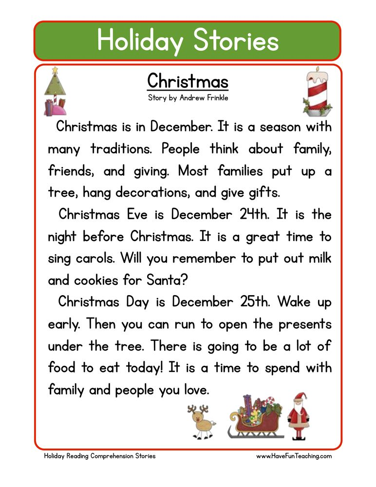 holiday stories comprehension christmas Lectura de