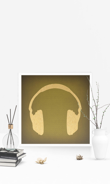 Vintage Headphones Art Music Wall Art & Home Decoration Retro ...