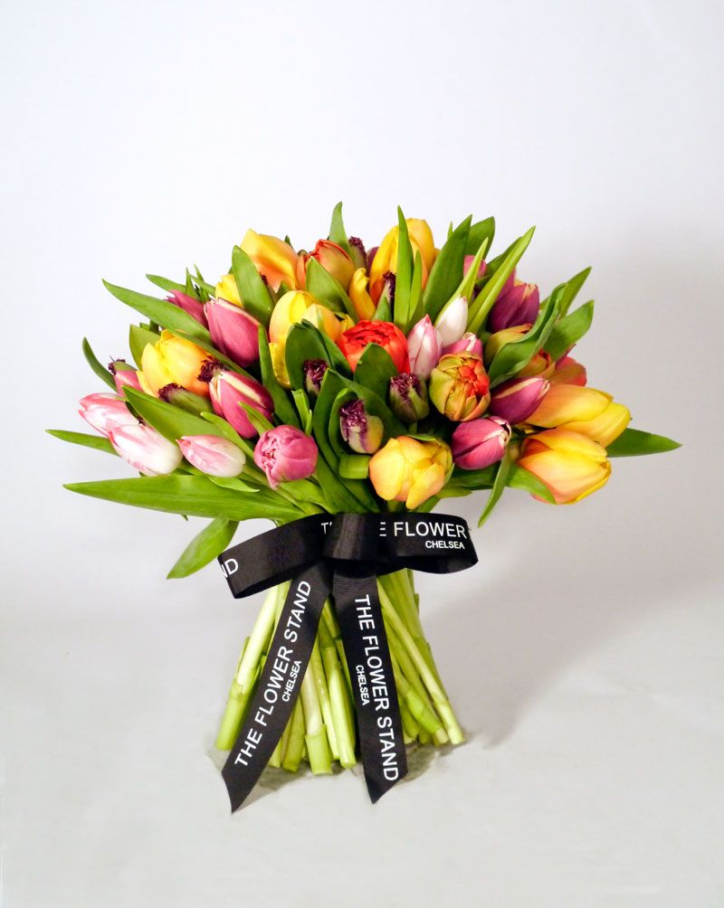 Luxury Tulip Bouquet Mixed Tulip Dome Premium Flowers Uk Delivery Get Well Flowers Get Well Soon Flowers Flowers Uk