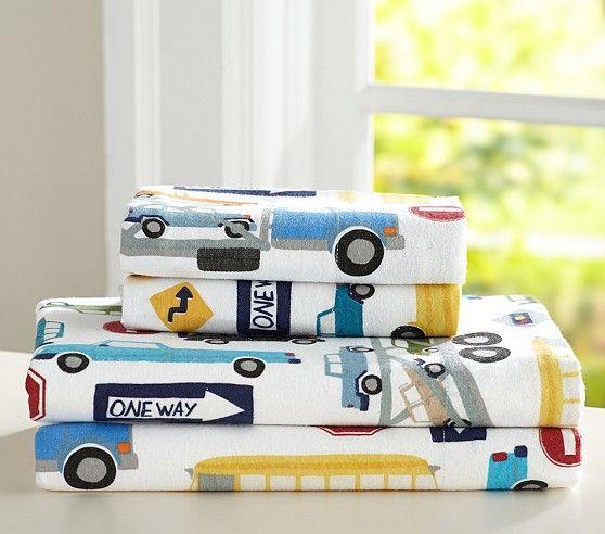 Pottery Barn Kids Signup 15: Automobile Flannel Sheet Set