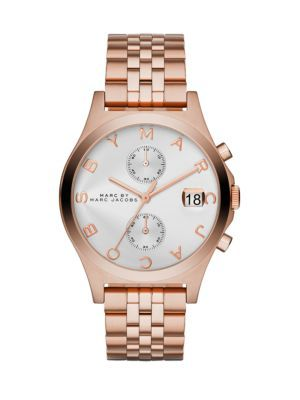MARC BY MARC JACOBS Slim Chrono Rose Goldtone Stainless Steel Chronograph Bracelet Watch. #marcbymarcjacobs #watch