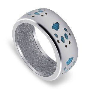 Men's 925 Sterling Silver Turquoise Gemstone Chip Inlay S...