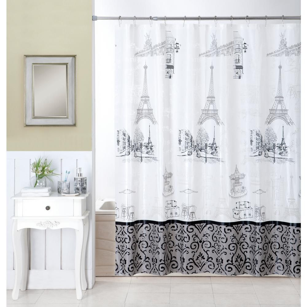Indecor Home Stroll Through Paris 16 Piece Ceramic Accessories And Shower Curt Shower Curtains And Accessories Shower Curtain Sets Bathroom Shower Curtain Sets