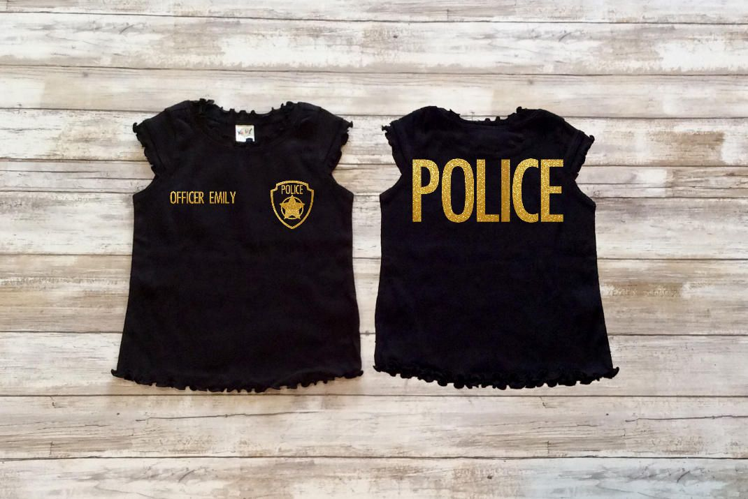 Girls Police shirt, personalized police shirt, police