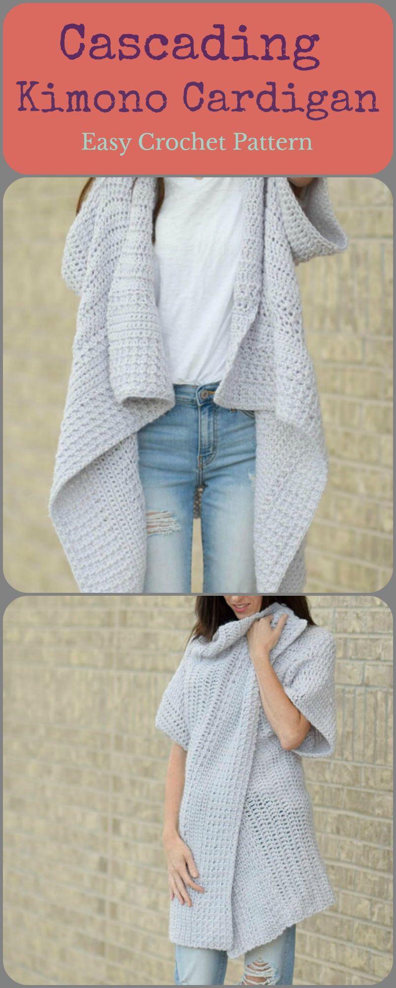 Easy crochet, cascading kimono cardigan #crochet #crochetpattern #ad ...