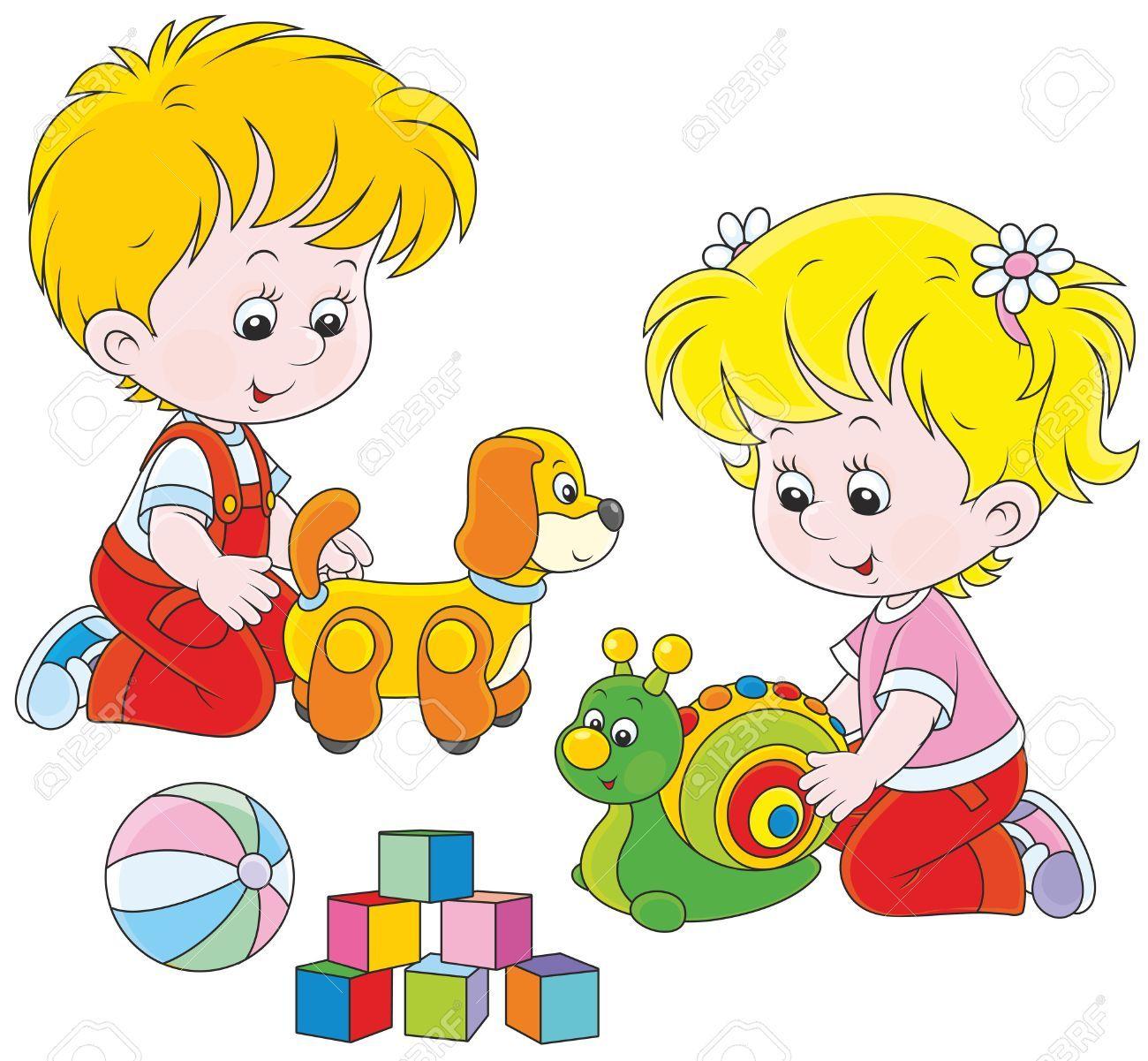 Nina Y Nino Jugando Con Sus Juguetes Ninos Jugando Juegos Para Ninos Libros De Tela Para Ninos