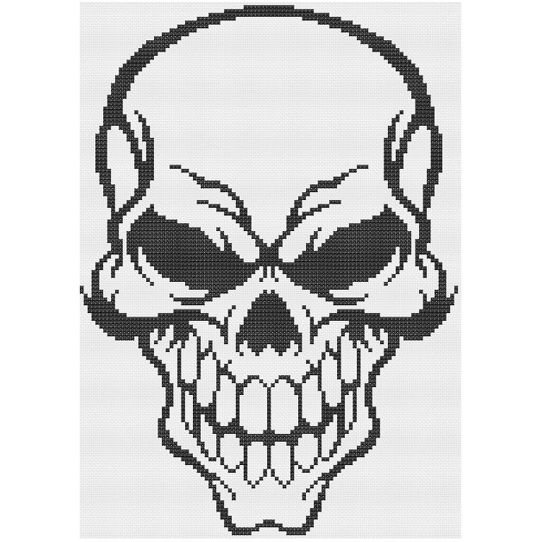 Halloween Skull (cross stitch)   Diseños para tejer, Couture y Puntos