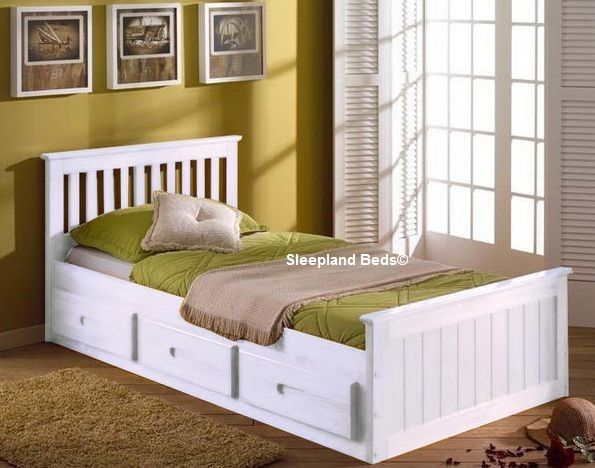 the mission bed frame with three drawers will provide comfort and plenty of storage space in the bedroom in beautiful pine wood the white bed has some mdf