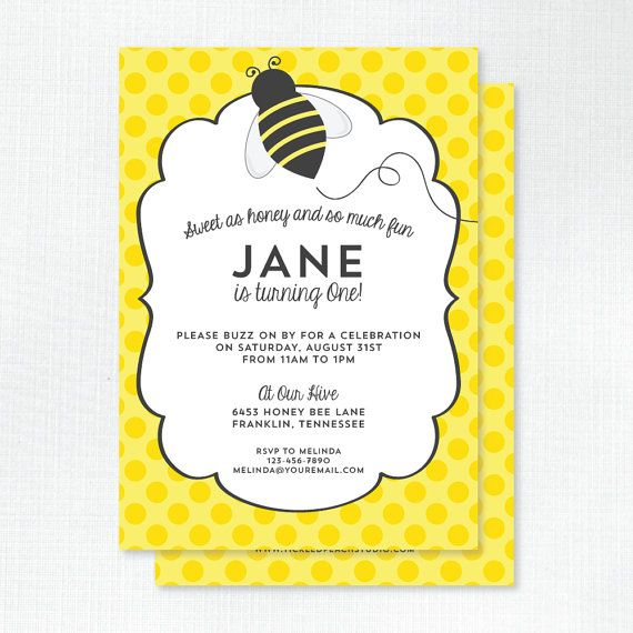 honey bee birthday invitation by