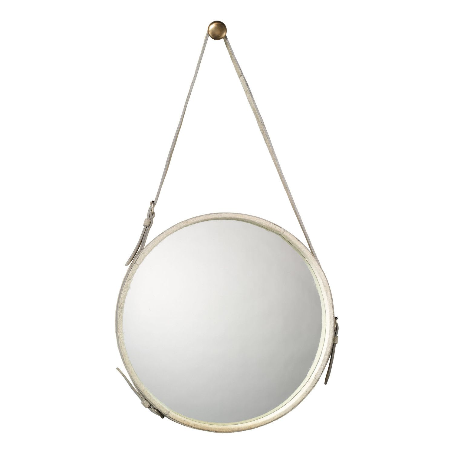 Round white hide mirror with strap includes brass hanging knob round white hide mirror with strap includes brass hanging knob also available as round leather mirror amipublicfo Gallery