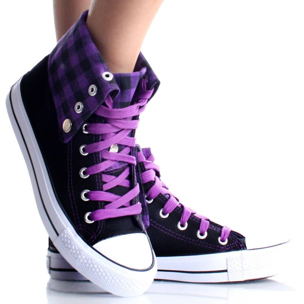c5eb18f4fa46e1 Womens High Top Sneakers Canvas Skate Shoes Purple Plaid Lace Up Boots