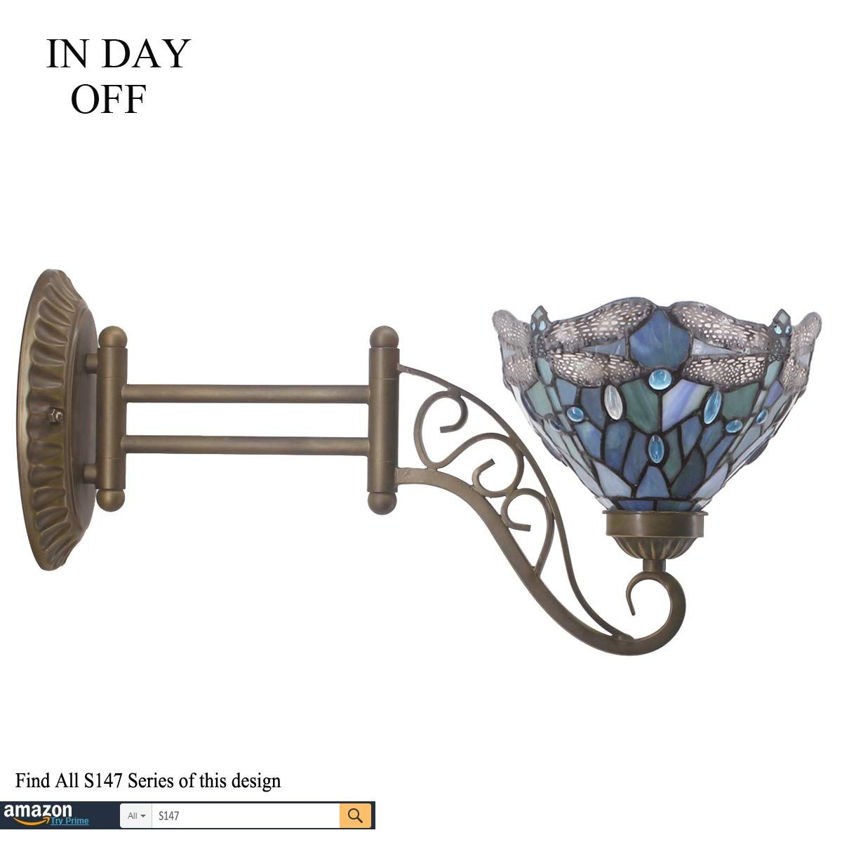 Tiffany Wall Sconce Lamp Up Or Down Light W8l19 Inch Sea Blue Stained Glass Dragonfly Shade Angle Swing Arm Adjustabl In 2020 Sconce Lamp Wall Fans Luxury Wall Sconces