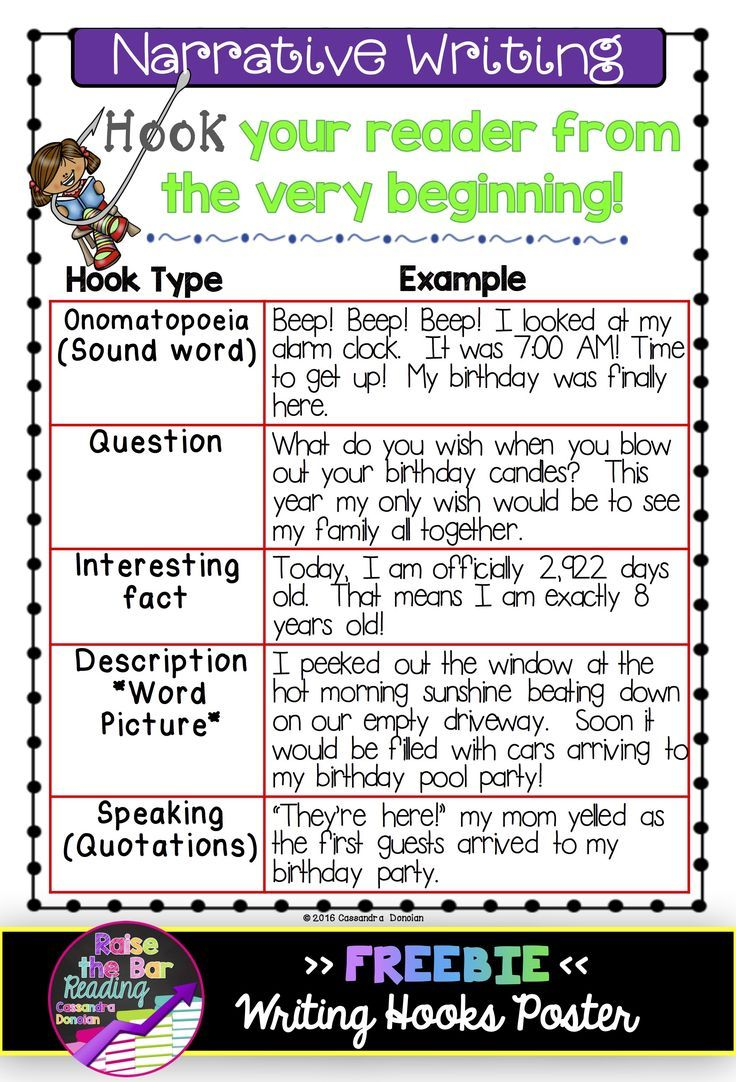 Writing Hooks Posters Practice Sheets Perfect For Grades 1 2 But Could Definitely Be Used With Older S Narrative Writing Writing Lessons Elementary Writing