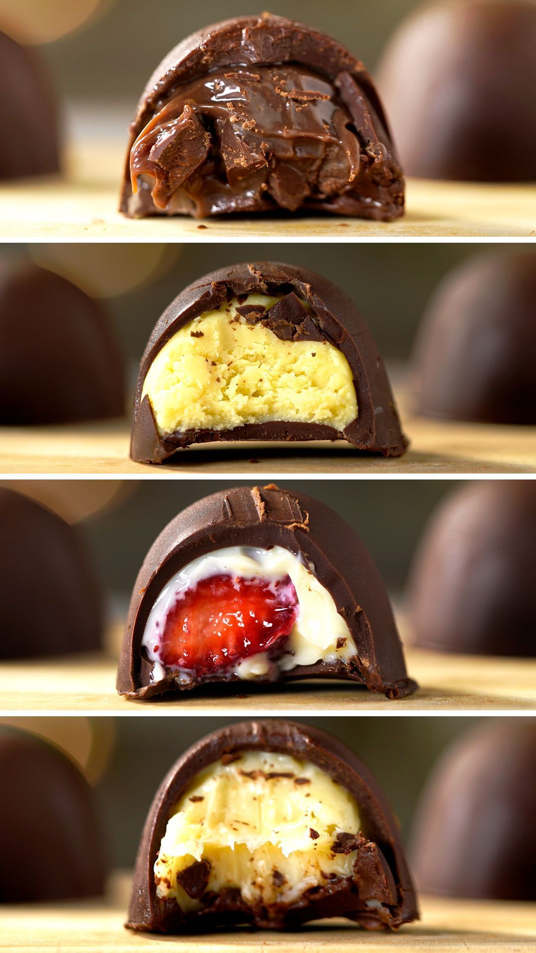 Ways to Stuff Chocolate Truffles - Check out the recipe for 4 ways of stuffing chocolate truffles