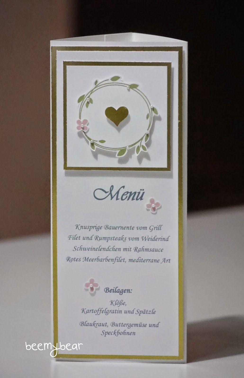 stampin with beemybear: Hochzeit, Menükarte, Stampin'up, Perfekter Tag