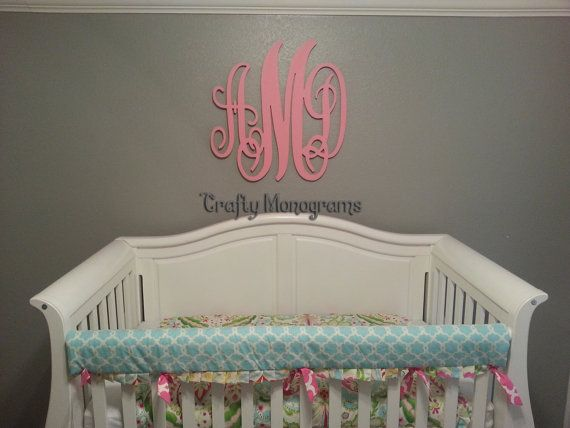 PAINTED Wood Monogram Initials, Wall Decor, Hanging Wooden Wall ...