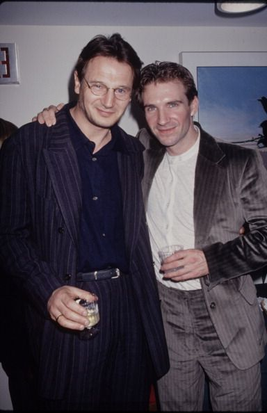 Actor Liam Neeson with Ralph Fiennes at the New York City premiere of the film 'Strange Days'