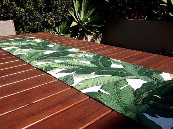 Table Runner Tropical Decor Outdoor Banana Leaf Palms Coastal Vintage Hawaiian Style Beach House
