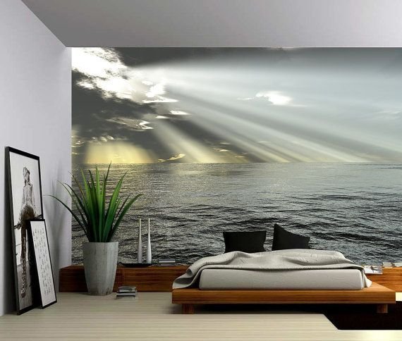 Seascape Ocean Rays of Light   Large Wall Mural  Self adhesive Vinyl     Seascape Ocean Rays of Light   Large Wall Mural  Self adhesive Vinyl  Wallpaper  Peel   Stick fabric wall decal