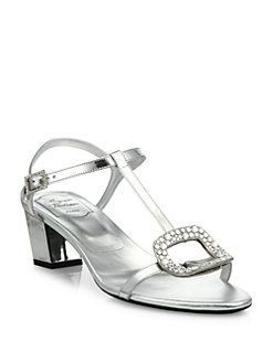 Roger Vivier - Chips Crystal-Buckle Metallic Leather T-Strap Sandals  #rogerviviersandals