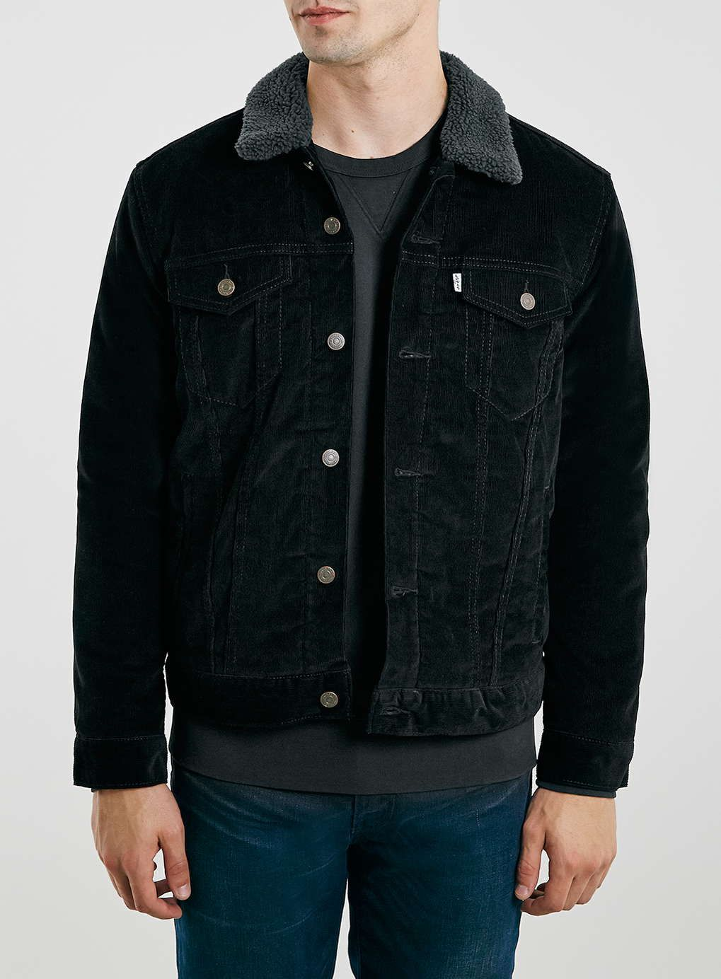 Levi's black needlepoint corduroy jacket with dark grey borg