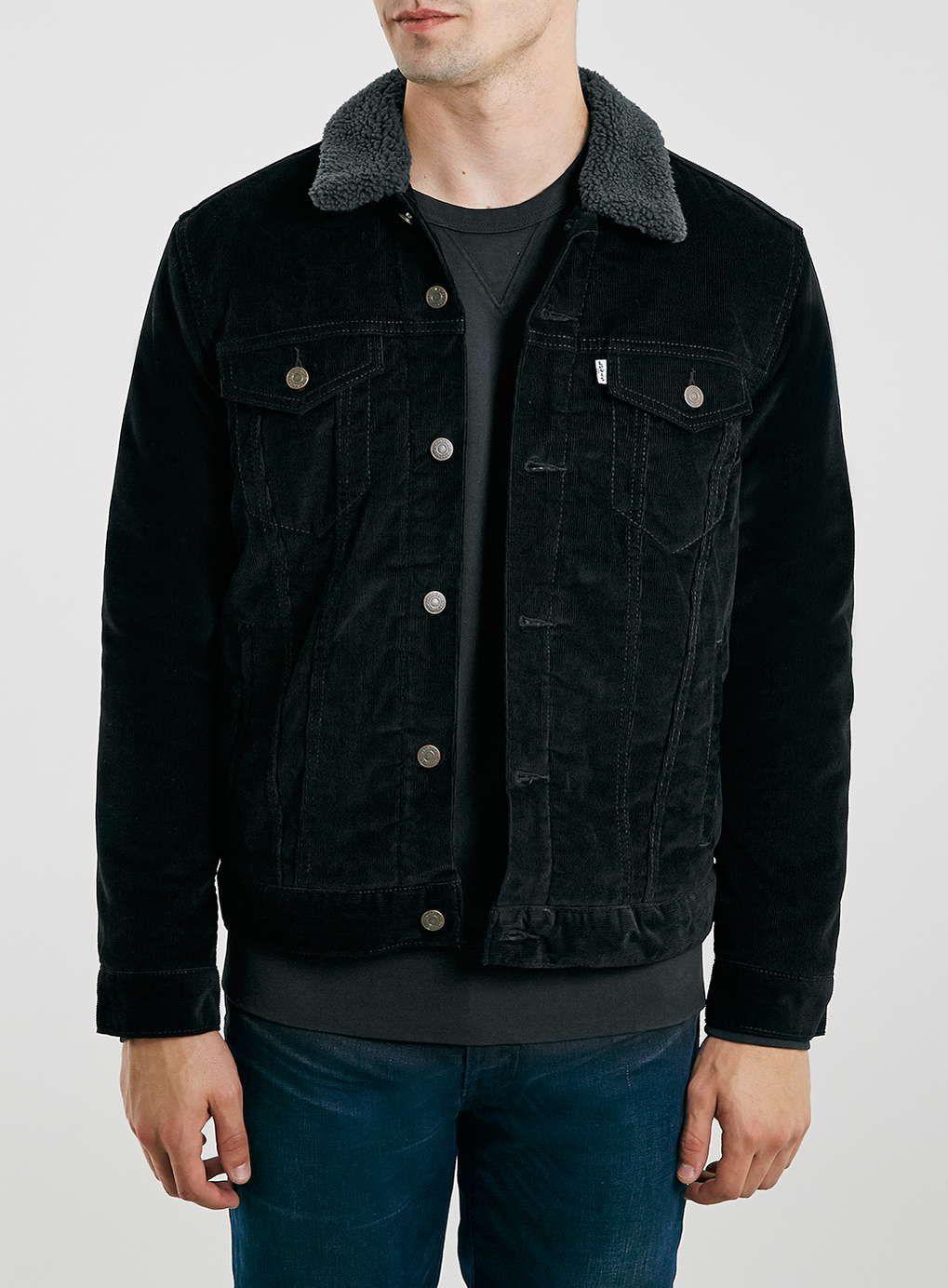 1d41f7b94c4 Levi s black needlepoint corduroy jacket with dark grey borg lining. Item  code  66L30KBLK