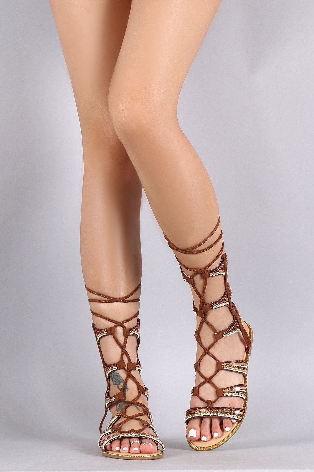 912aa3d5262 Beaded Lace Up Flat Gladiator Sandal