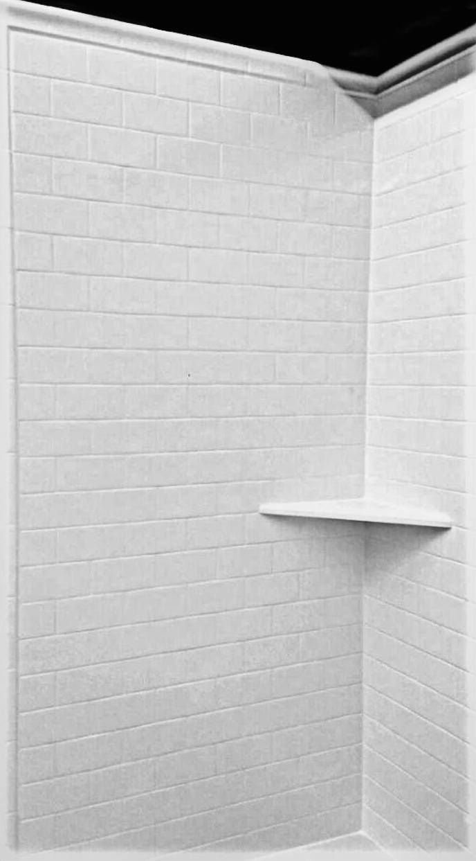 American Marble No Grout Subway Tile In White With 2 Corner